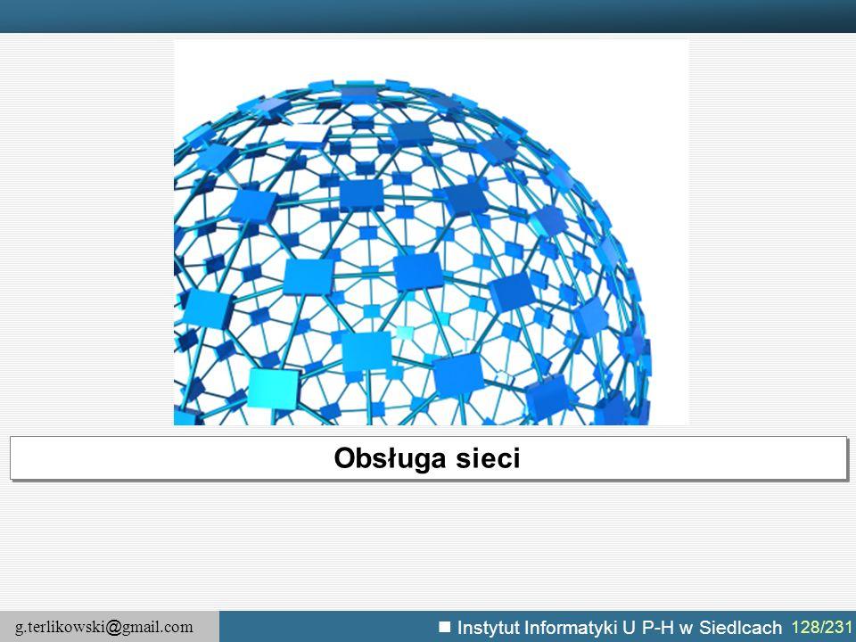 g.terlikowski @ gmail.com Instytut Informatyki U P-H w Siedlcach 128/231 Obsługa sieci