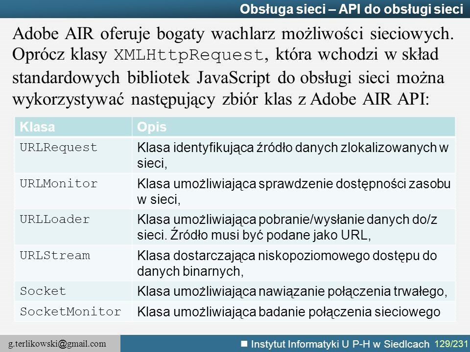 g.terlikowski @ gmail.com Instytut Informatyki U P-H w Siedlcach 129/231 Obsługa sieci – API do obsługi sieci Adobe AIR oferuje bogaty wachlarz możliw