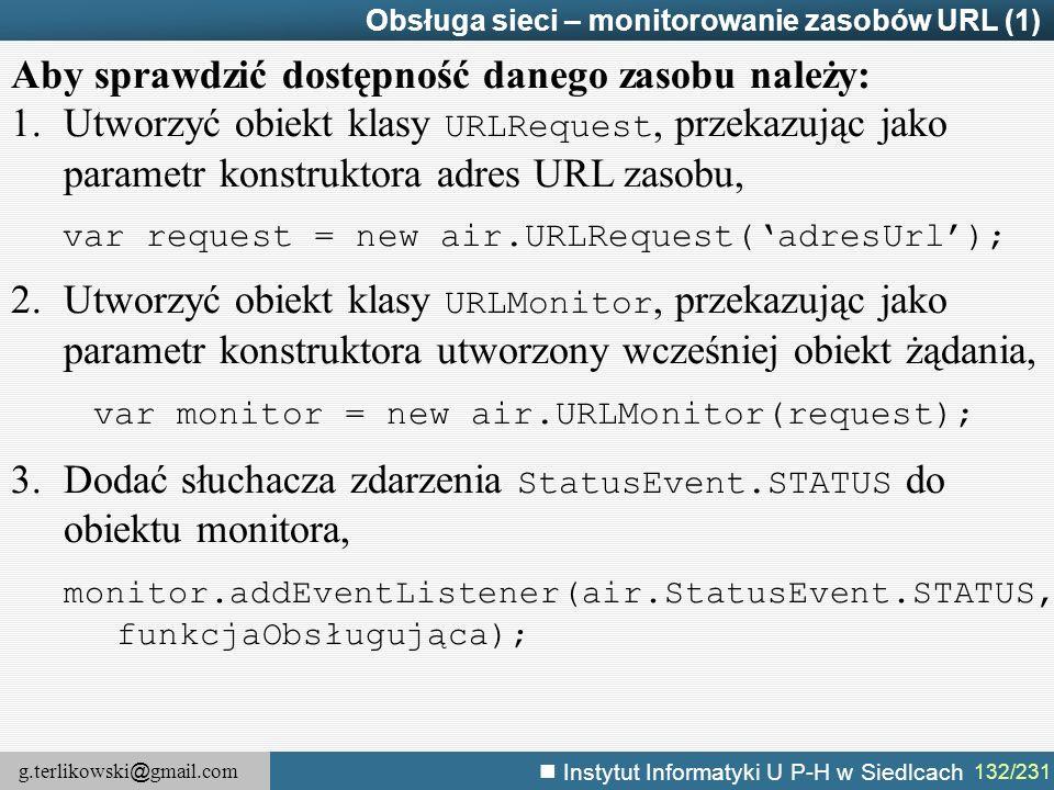 g.terlikowski @ gmail.com Instytut Informatyki U P-H w Siedlcach 132/231 Obsługa sieci – monitorowanie zasobów URL (1) Aby sprawdzić dostępność danego