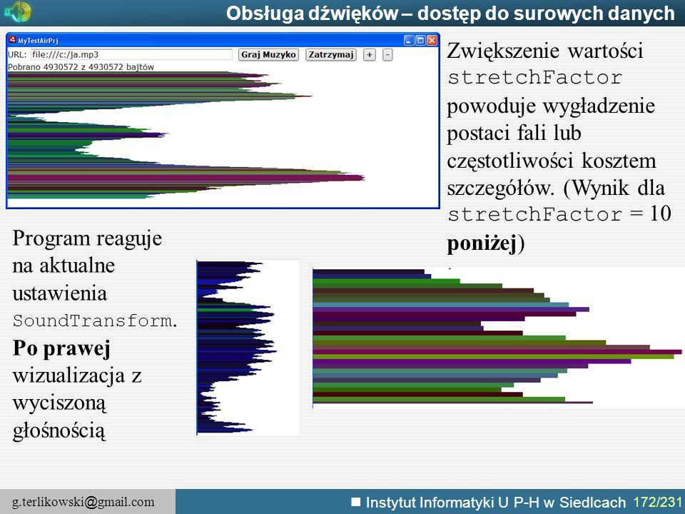 g.terlikowski @ gmail.com Instytut Informatyki U P-H w Siedlcach 172/231 Obsługa dźwięków – dostęp do surowych danych Program reaguje na aktualne usta