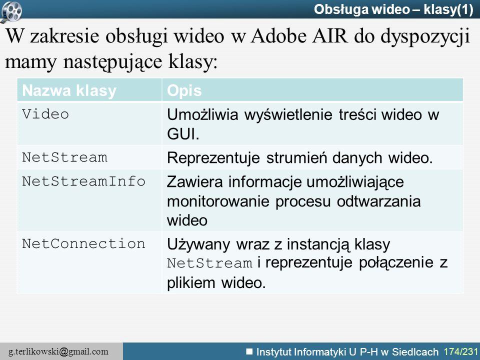 g.terlikowski @ gmail.com Instytut Informatyki U P-H w Siedlcach 174/231 Obsługa wideo – klasy(1) W zakresie obsługi wideo w Adobe AIR do dyspozycji m