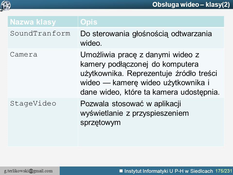 g.terlikowski @ gmail.com Instytut Informatyki U P-H w Siedlcach 175/231 Obsługa wideo – klasy(2) Nazwa klasyOpis SoundTranform Do sterowania głośnośc