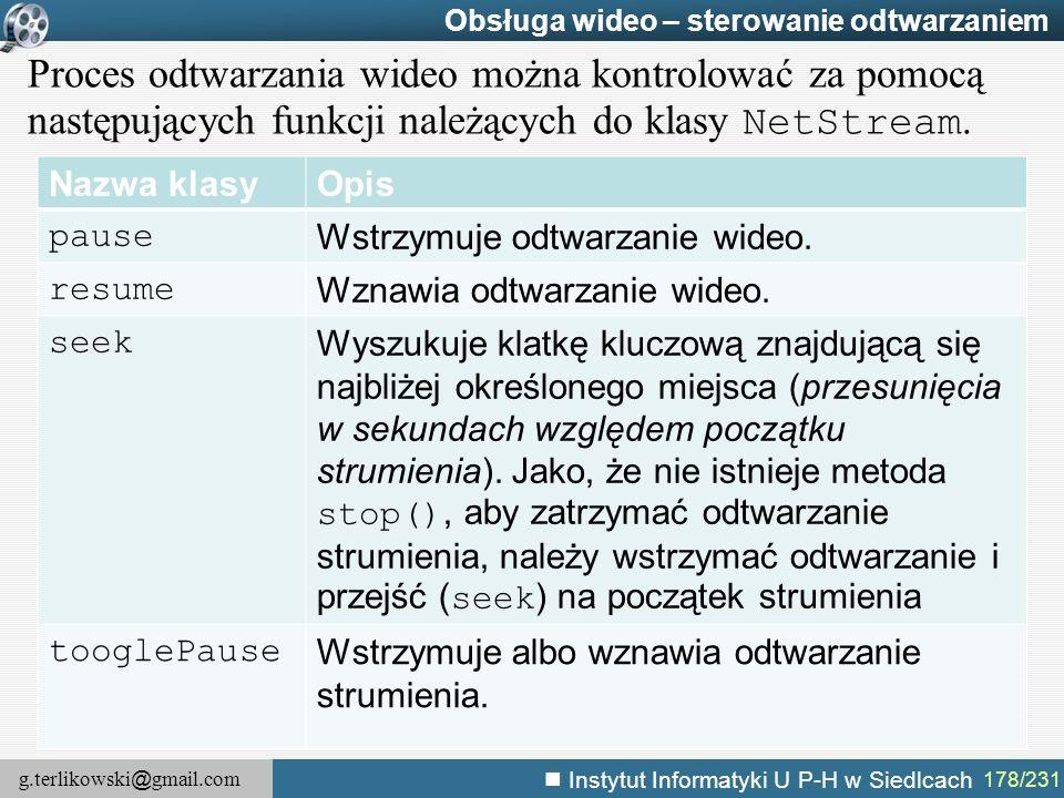 g.terlikowski @ gmail.com Instytut Informatyki U P-H w Siedlcach 178/231 Obsługa wideo – sterowanie odtwarzaniem Proces odtwarzania wideo można kontro