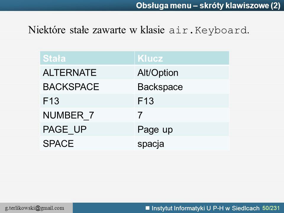 g.terlikowski @ gmail.com Instytut Informatyki U P-H w Siedlcach 50/231 Obsługa menu – skróty klawiszowe (2) StałaKlucz ALTERNATEAlt/Option BACKSPACEB