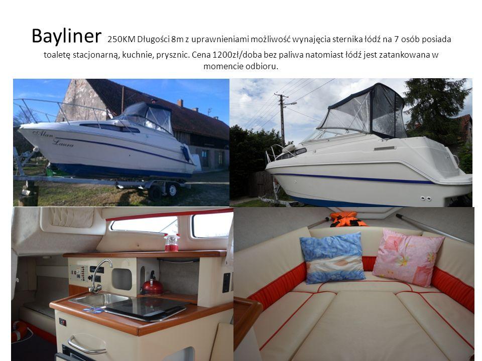 Bayliner 250KM Długości 8m z uprawnieniami możliwość wynajęcia sternika łódź na 7 osób posiada toaletę stacjonarną, kuchnie, prysznic. Cena 1200zł/dob