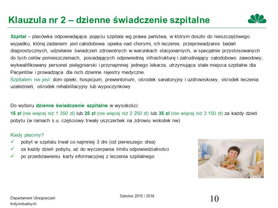 Departament Ubezpieczeń Indywidualnych Szkolne 2015 / 2016 10 Klauzula nr 2 – dzienne świadczenie szpitalne Szpital – placówka odpowiadająca pojęciu szpitala wg prawa państwa, w którym doszło do nieszczęśliwego wypadku, której zadaniem jest całodobowa opieka nad chorymi, ich leczenie, przeprowadzanie badań diagnostycznych, udzielanie świadczeń zdrowotnych w warunkach stacjonarnych, w specjalnie przystosowanych do tych celów pomieszczeniach, posiadających odpowiednią infrastrukturę i zatrudniający całodobowo zawodowy, wykwalifikowany personel pielęgniarski i przynajmniej jednego lekarza, utrzymująca stałe miejsca szpitalne dla Pacjentów i prowadząca dla nich dzienne rejestry medyczne.