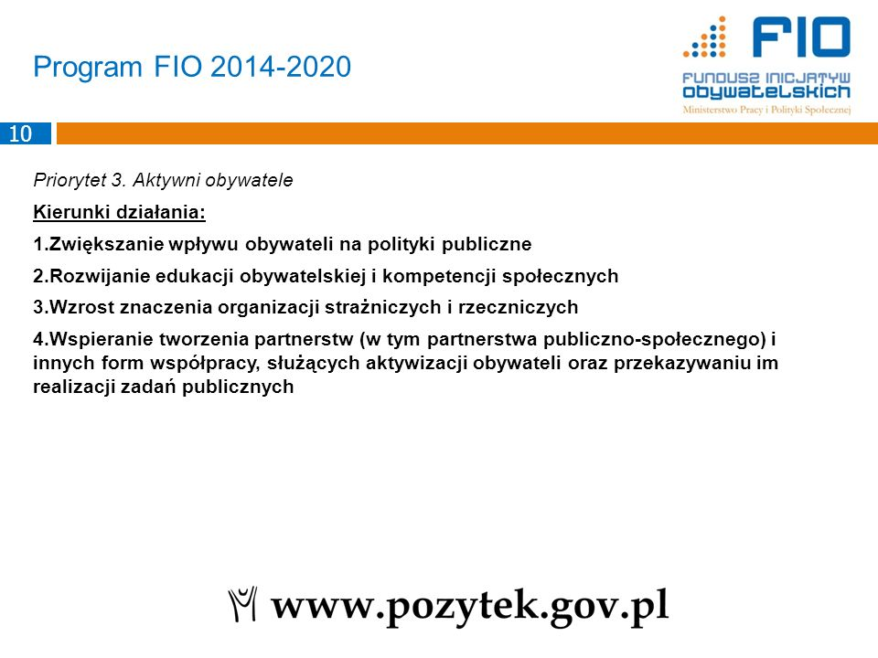 Program FIO 2014-2020 Priorytet 3.