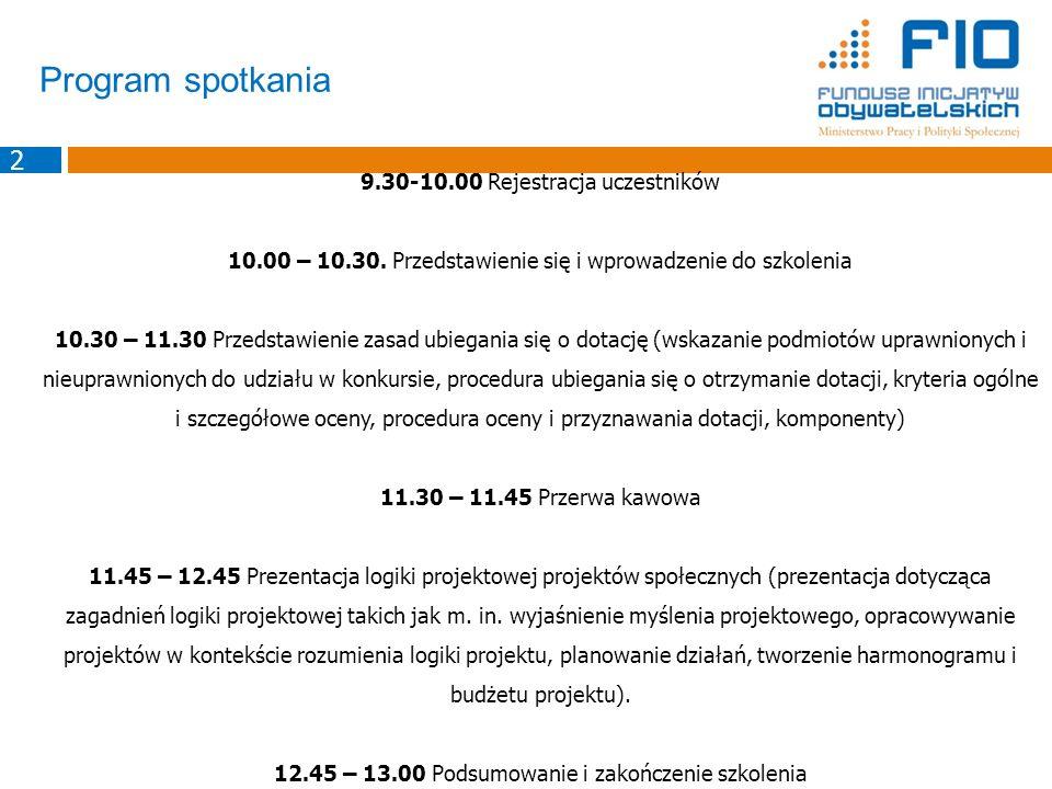 Program spotkania 9.30-10.00 Rejestracja uczestników 10.00 – 10.30. Przedstawienie się i wprowadzenie do szkolenia 10.30 – 11.30 Przedstawienie zasad