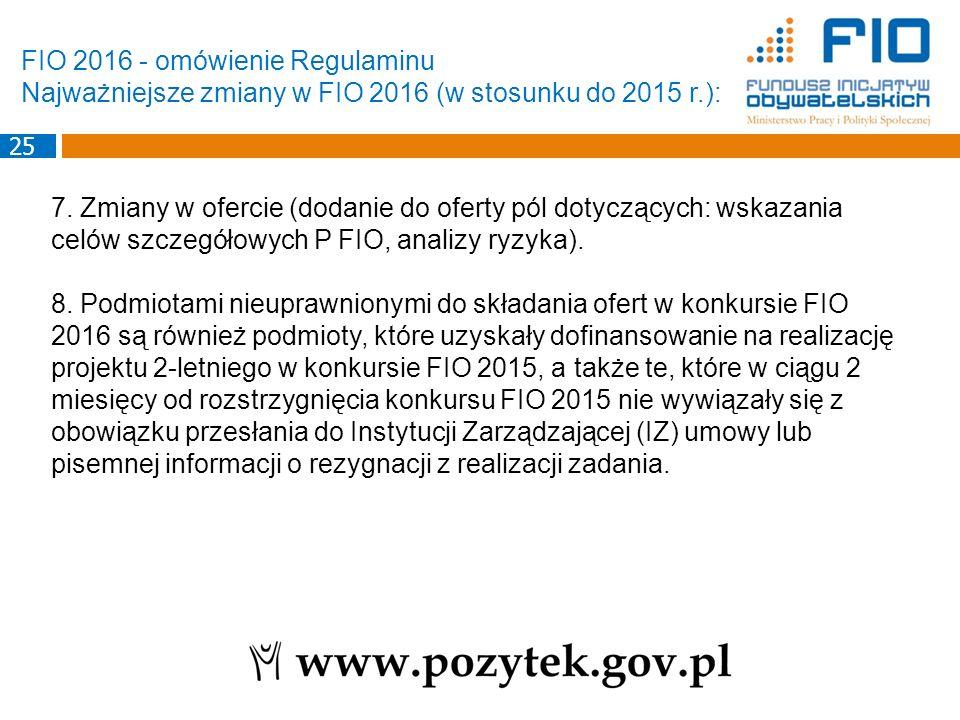 7. Zmiany w ofercie (dodanie do oferty pól dotyczących: wskazania celów szczegółowych P FIO, analizy ryzyka). 8. Podmiotami nieuprawnionymi do składan