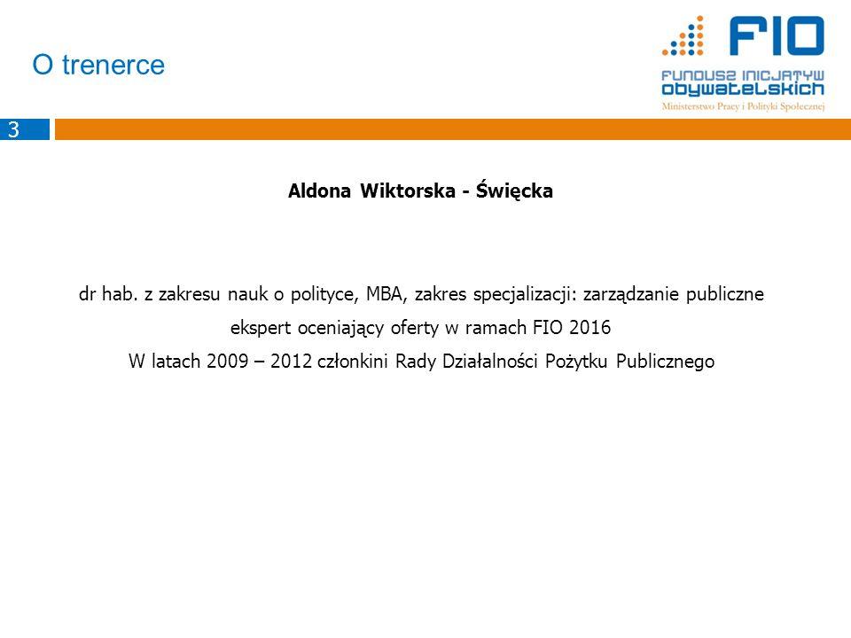 O trenerce Aldona Wiktorska - Święcka dr hab. z zakresu nauk o polityce, MBA, zakres specjalizacji: zarządzanie publiczne ekspert oceniający oferty w
