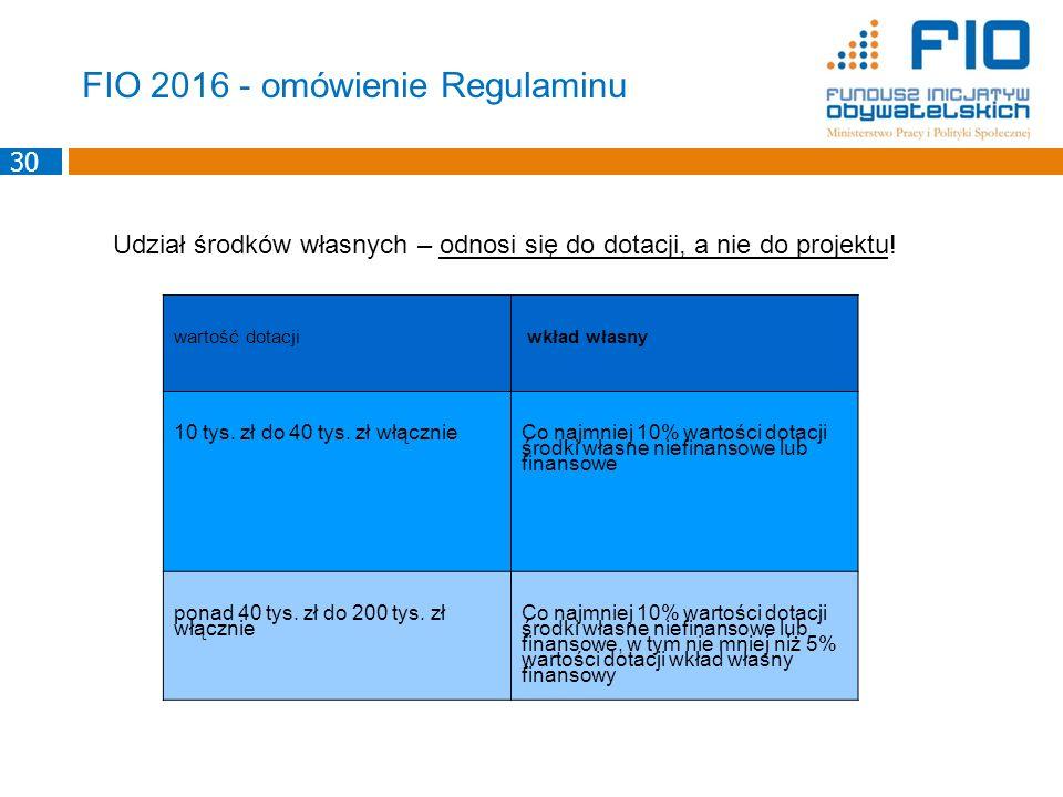 FIO 2016 - omówienie Regulaminu wartość dotacji wkład własny 10 tys. zł do 40 tys. zł włącznie Co najmniej 10% wartości dotacji środki własne niefinan