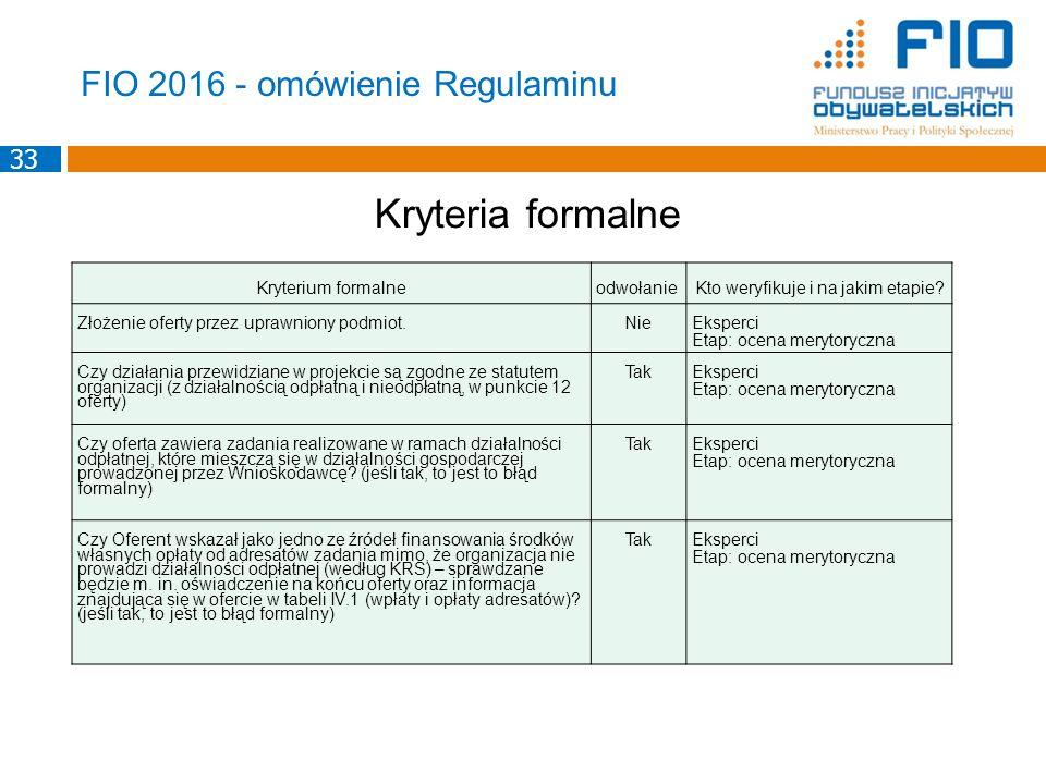 FIO 2016 - omówienie Regulaminu Kryteria formalne Kryterium formalneodwołanieKto weryfikuje i na jakim etapie? Złożenie oferty przez uprawniony podmio