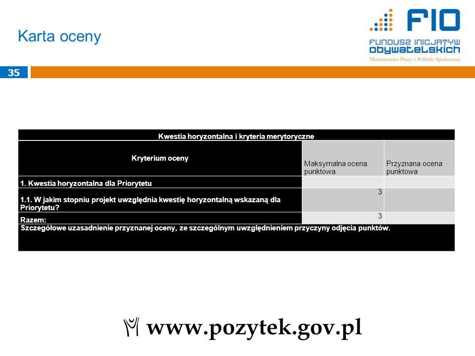 Karta oceny 35 Kwestia horyzontalna i kryteria merytoryczne Kryterium oceny Maksymalna ocena punktowa Przyznana ocena punktowa 1. Kwestia horyzontalna