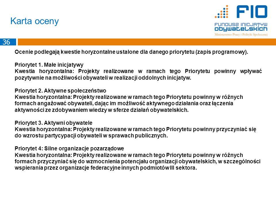 Karta oceny Ocenie podlegają kwestie horyzontalne ustalone dla danego priorytetu (zapis programowy). Priorytet 1. Małe inicjatywy Kwestia horyzontalna