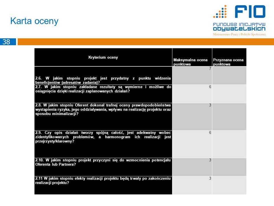 Karta oceny 38 Kryterium oceny Maksymalna ocena punktowa Przyznana ocena punktowa 2.6. W jakim stopniu projekt jest przydatny z punktu widzenia benefi