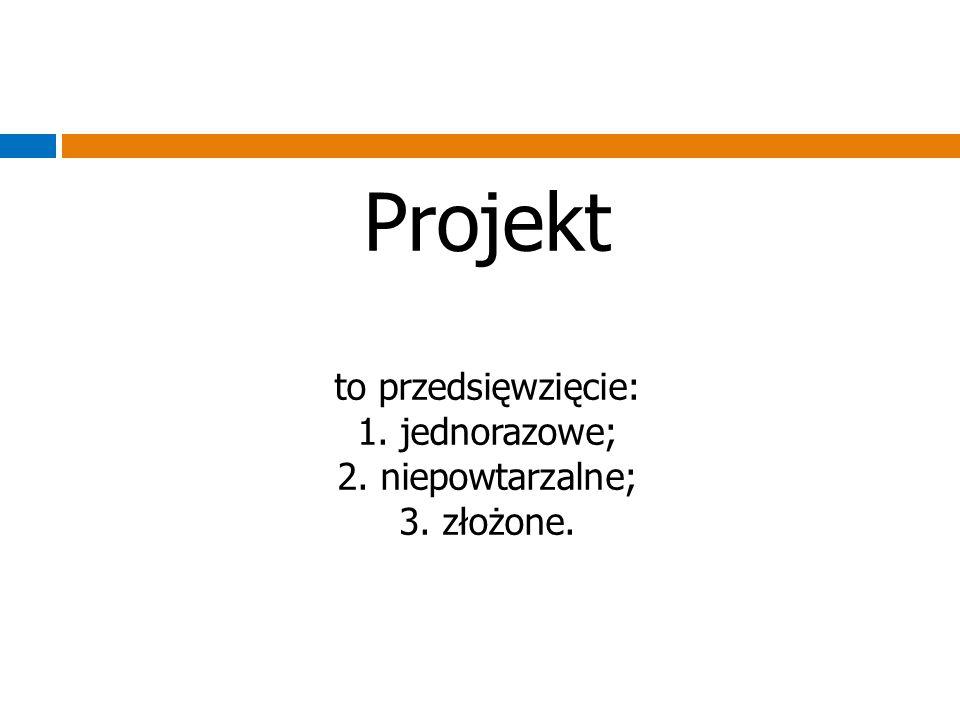 Projekt to przedsięwzięcie: 1. jednorazowe; 2. niepowtarzalne; 3. złożone.