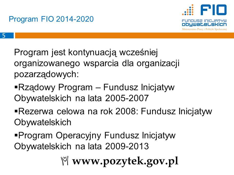 Program jest kontynuacją wcześniej organizowanego wsparcia dla organizacji pozarządowych:  Rządowy Program – Fundusz Inicjatyw Obywatelskich na lata