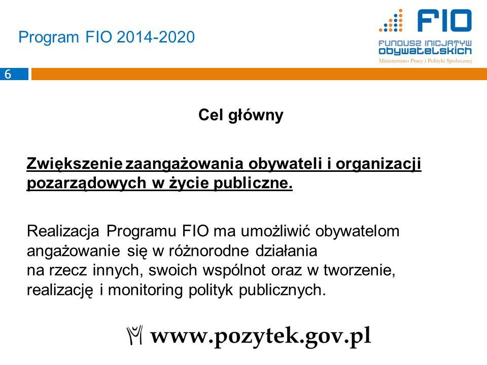Program FIO 2014-2020 Cele szczegółowe 1.Zwiększenie ilości inicjatyw oddolnych 2.Wzrost liczby obywateli angażujących się w działania organizacji pozarządowych i inicjatywy lokalne.