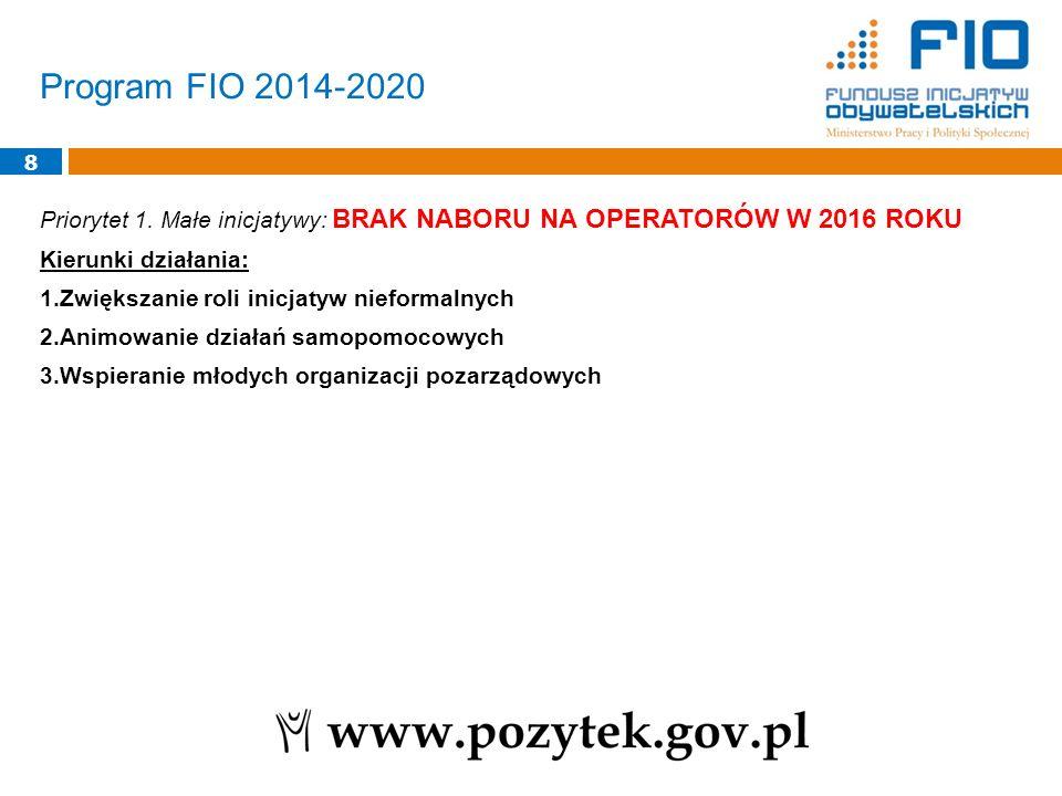 Program FIO 2014-2020 8 Priorytet 1. Małe inicjatywy: BRAK NABORU NA OPERATORÓW W 2016 ROKU Kierunki działania: 1.Zwiększanie roli inicjatyw nieformal