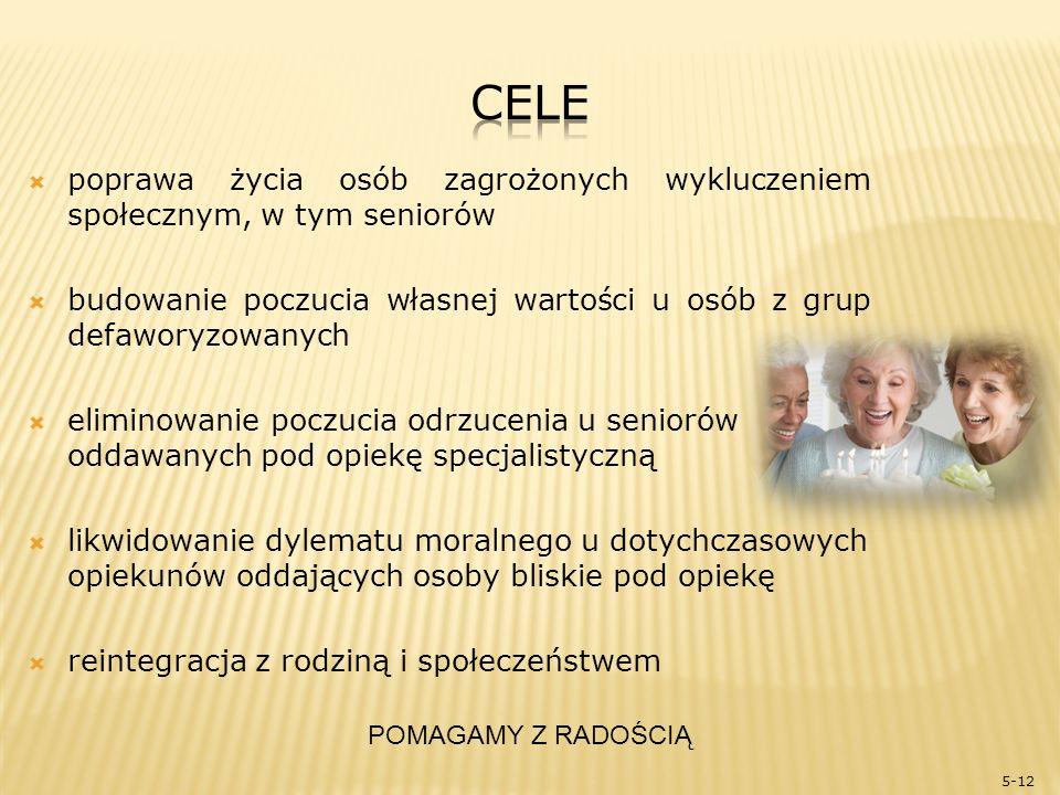  włączanie społeczne osób z grup defaworyzowanych  tworzenie systemu dziennej opieki nad seniorami  promowanie zdrowego trybu życia  pomoc doradcza przy zakładaniu własnej działalności gospodarczej  promowanie idei społeczeństwa obywatelskiego 6-12