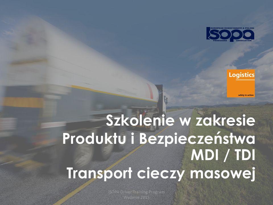 ISOPA Driver Training Program Wydanie 2015 12 MDI / TDI wchodzi w reakcję z wodą (łącznie z wilgotnos ćią z powietrza!)  Temperatura i ciśnienie CO2 rośnie znacząco w czasie transportu bez udziału zewnętrznego ogrzewania.