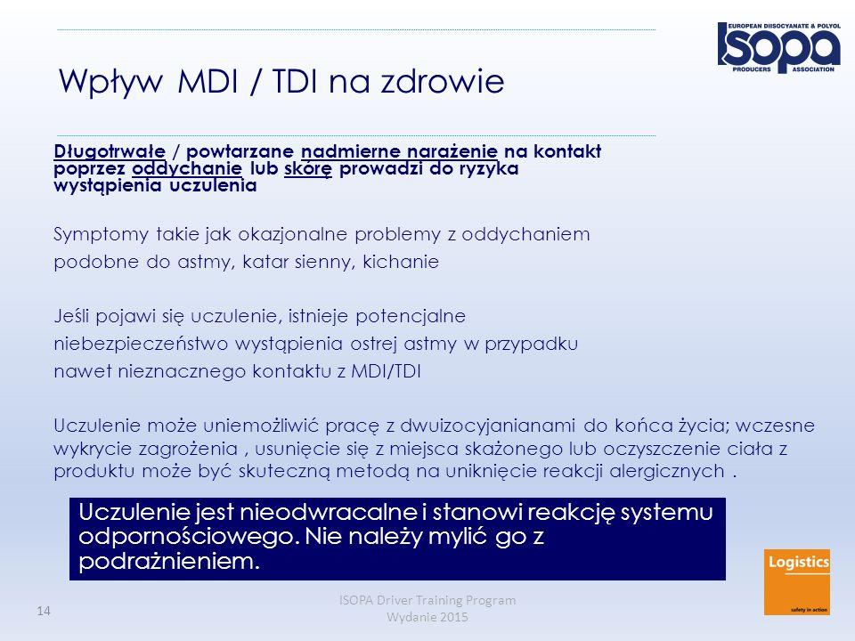 ISOPA Driver Training Program Wydanie 2015 14 Wpływ MDI / TDI na zdrowie Długotrwałe / powtarzane nadmierne narażenie na kontakt poprzez oddychanie lu