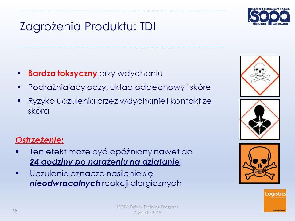 ISOPA Driver Training Program Wydanie 2015 15 Zagrożenia Produktu: TDI  Bardzo toksyczny przy wdychaniu  Podrażniający oczy, układ oddechowy i skórę