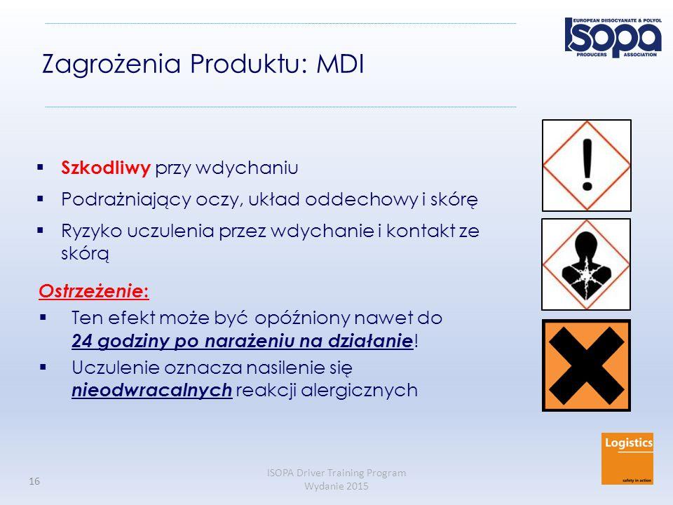 ISOPA Driver Training Program Wydanie 2015 16 Zagrożenia Produktu: MDI  Szkodliwy przy wdychaniu  Podrażniający oczy, układ oddechowy i skórę  Ryzy