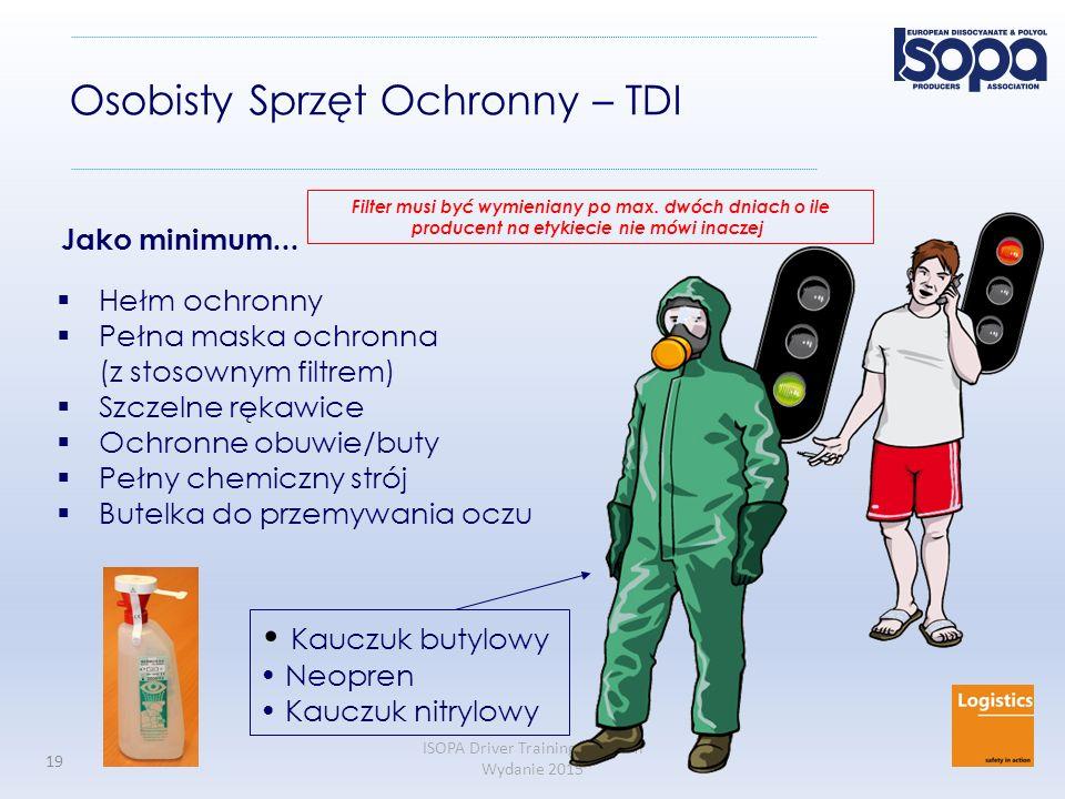 ISOPA Driver Training Program Wydanie 2015 19 Osobisty Sprzęt Ochronny – TDI  Hełm ochronny  Pełna maska ochronna (z stosownym filtrem)  Szczelne r