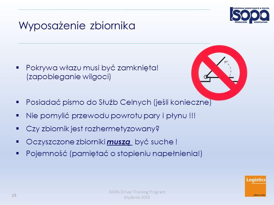 ISOPA Driver Training Program Wydanie 2015 29 Wyposażenie zbiornika  Pokrywa włazu musi być zamknięta! (zapobieganie wilgoci)  Posiadać pismo do Słu