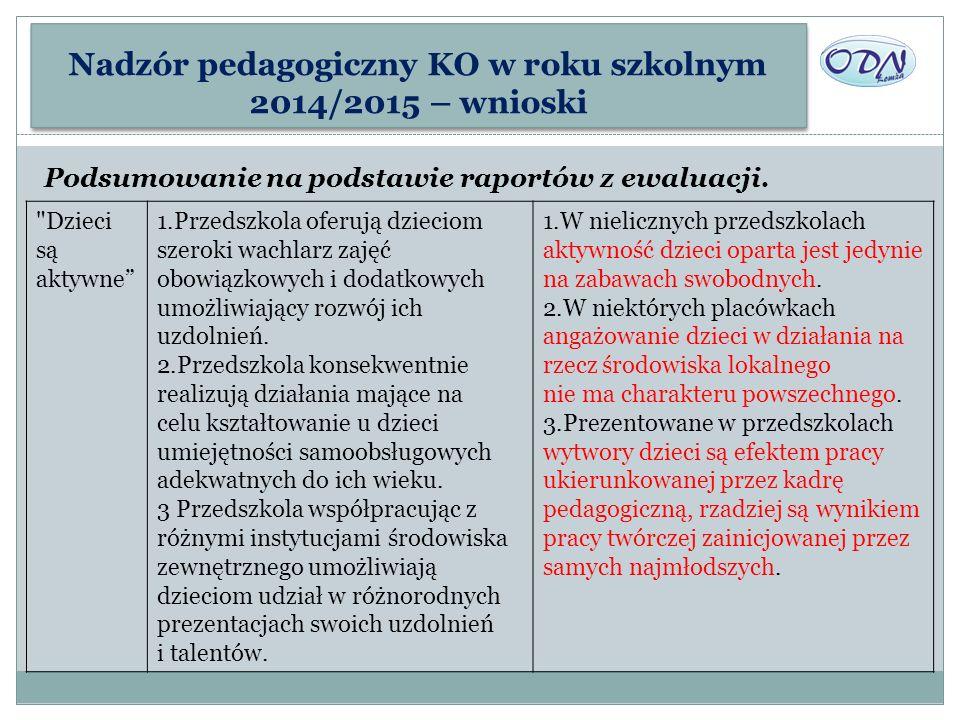 Nadzór pedagogiczny KO w roku szkolnym 2014/2015 – wnioski Podsumowanie na podstawie raportów z ewaluacji.