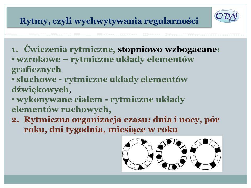 Rytmy, czyli wychwytywania regularności 1.Ćwiczenia rytmiczne, stopniowo wzbogacane: wzrokowe – rytmiczne układy elementów graficznych słuchowe - rytm