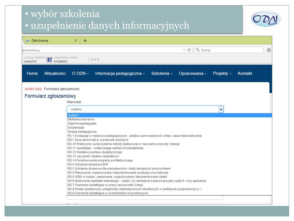 wybór szkolenia uzupełnienie danych informacyjnych wybór szkolenia uzupełnienie danych informacyjnych