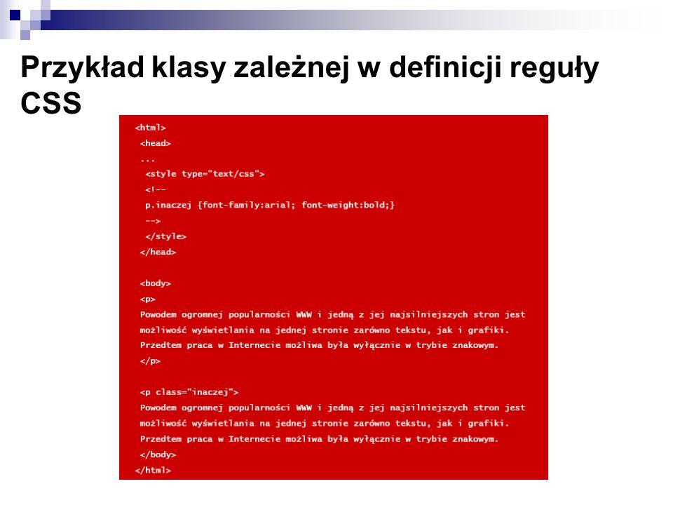 Przykład klasy zależnej w definicji reguły CSS