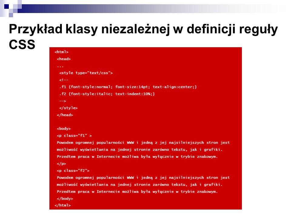 Przykład klasy niezależnej w definicji reguły CSS