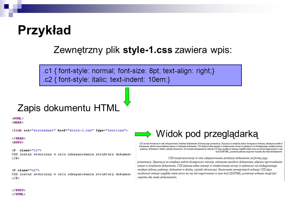 Przykład.c1 { font-style: normal; font-size: 8pt; text-align: right;}.c2 { font-style: italic; text-indent: 10em;} Zewnętrzny plik style-1.css zawiera