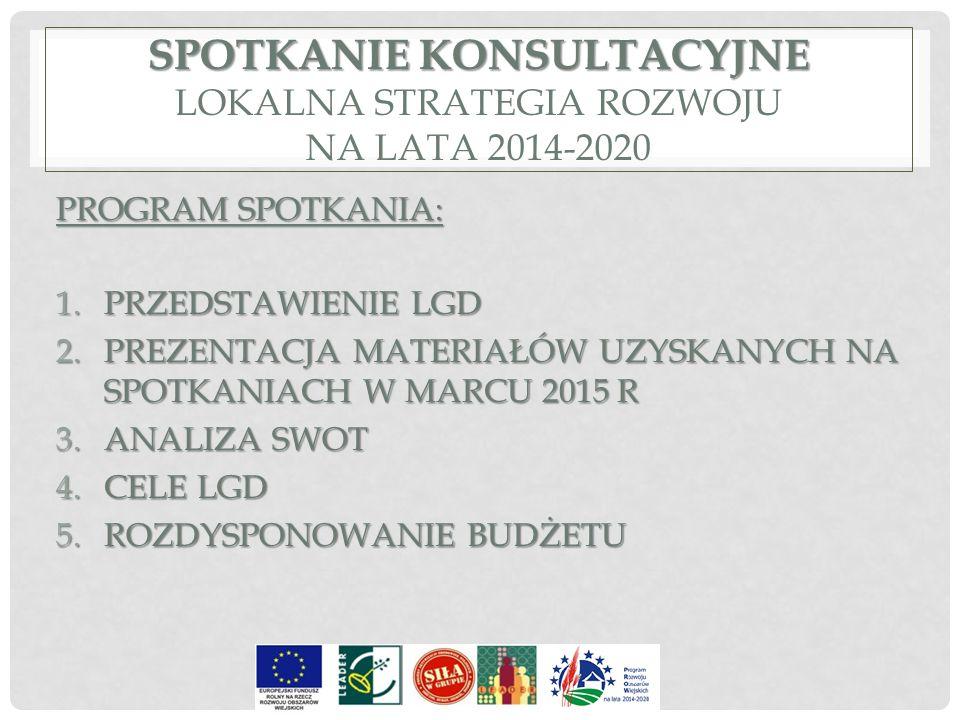 SPOTKANIE KONSULTACYJNE SPOTKANIE KONSULTACYJNE LOKALNA STRATEGIA ROZWOJU NA LATA 2014-2020 PROGRAM SPOTKANIA: 1.PRZEDSTAWIENIE LGD 2.PREZENTACJA MATE