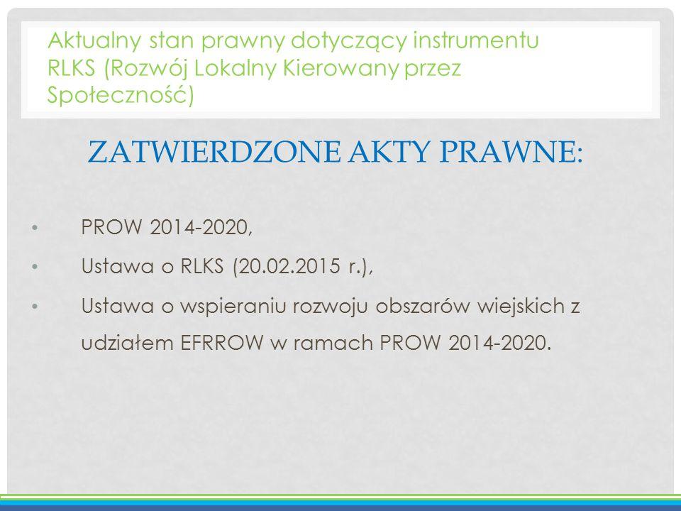 ZATWIERDZONE AKTY PRAWNE: PROW 2014-2020, Ustawa o RLKS (20.02.2015 r.), Ustawa o wspieraniu rozwoju obszarów wiejskich z udziałem EFRROW w ramach PRO
