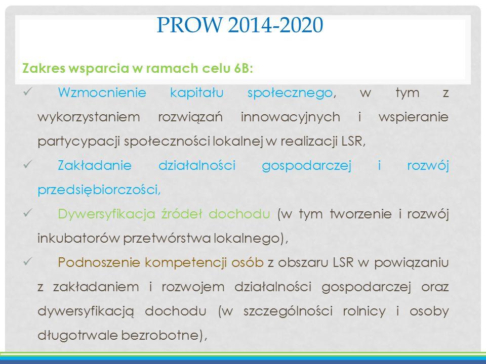 PROW 2014-2020 Zakres wsparcia w ramach celu 6B: Wzmocnienie kapitału społecznego, w tym z wykorzystaniem rozwiązań innowacyjnych i wspieranie partycy