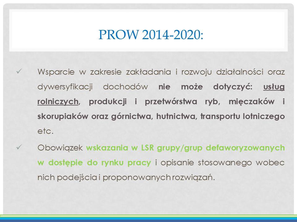 PROW 2014-2020: Wsparcie w zakresie zakładania i rozwoju działalności oraz dywersyfikacji dochodów nie może dotyczyć: usług rolniczych, produkcji i pr