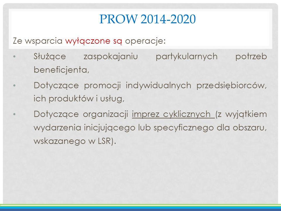 PROW 2014-2020 Ze wsparcia wyłączone są operacje: Służące zaspokajaniu partykularnych potrzeb beneficjenta, Dotyczące promocji indywidualnych przedsię