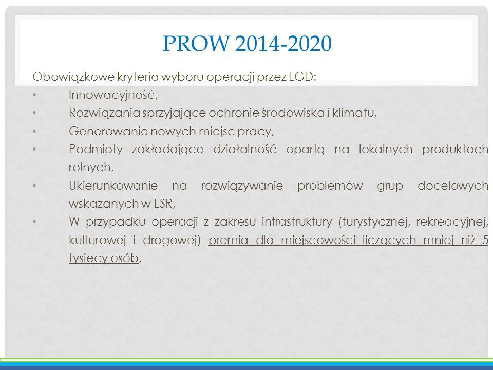 PROW 2014-2020 Obowiązkowe kryteria wyboru operacji przez LGD: Innowacyjność, Rozwiązania sprzyjające ochronie środowiska i klimatu, Generowanie nowyc