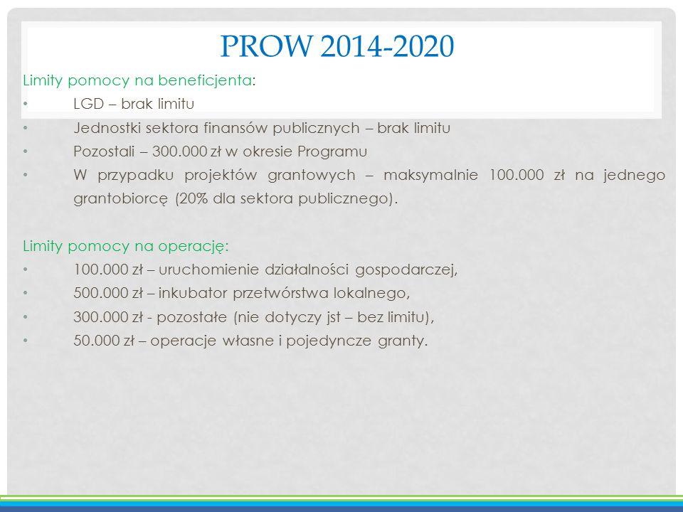 PROW 2014-2020 Limity pomocy na beneficjenta: LGD – brak limitu Jednostki sektora finansów publicznych – brak limitu Pozostali – 300.000 zł w okresie