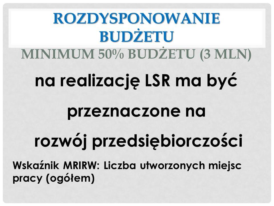 na realizację LSR ma być przeznaczone na rozwój przedsiębiorczości Wskaźnik MRIRW: Liczba utworzonych miejsc pracy (ogółem) ROZDYSPONOWANIE BUDŻETU RO