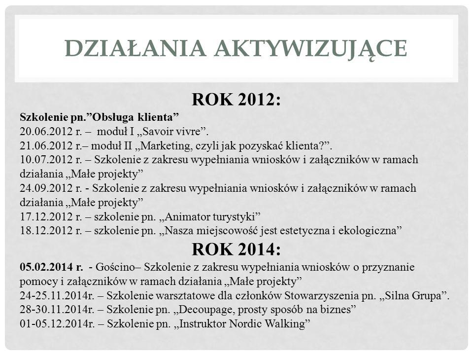 """DZIAŁANIA AKTYWIZUJĄCE ROK 2012: Szkolenie pn.""""Obsługa klienta"""" 20.06.2012 r. – moduł I """"Savoir vivre"""". 21.06.2012 r.– moduł II """"Marketing, czyli jak"""