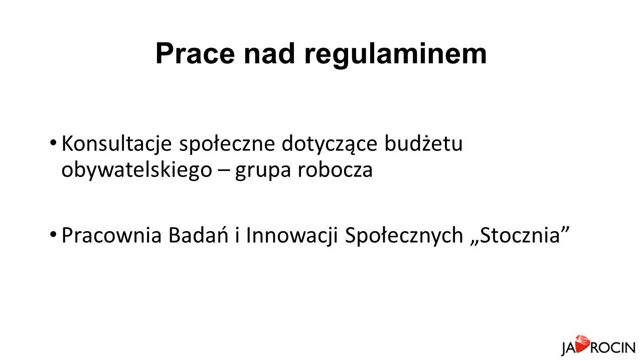 """Prace nad regulaminem Konsultacje społeczne dotyczące budżetu obywatelskiego – grupa robocza Pracownia Badań i Innowacji Społecznych """"Stocznia"""