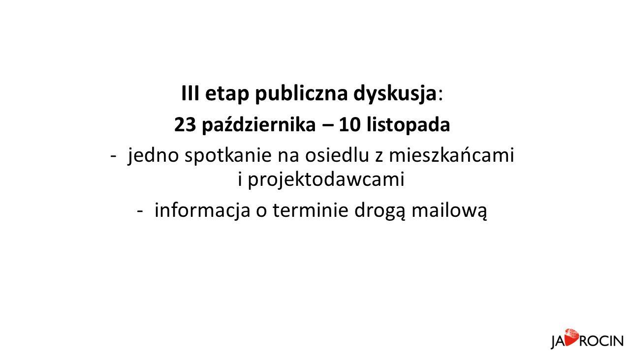 III etap publiczna dyskusja: 23 października – 10 listopada -jedno spotkanie na osiedlu z mieszkańcami i projektodawcami -informacja o terminie drogą mailową