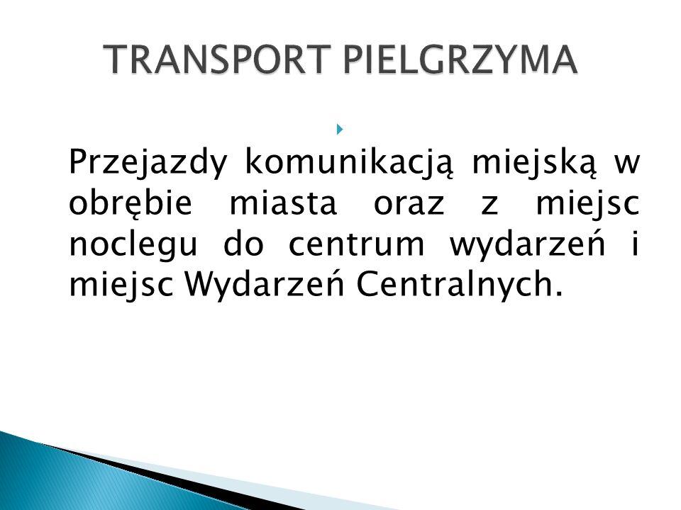  Przejazdy komunikacją miejską w obrębie miasta oraz z miejsc noclegu do centrum wydarzeń i miejsc Wydarzeń Centralnych.