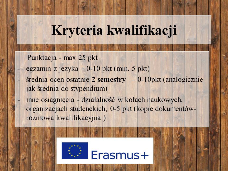 Kryteria kwalifikacji Punktacja - max 25 pkt -egzamin z języka – 0-10 pkt (min.