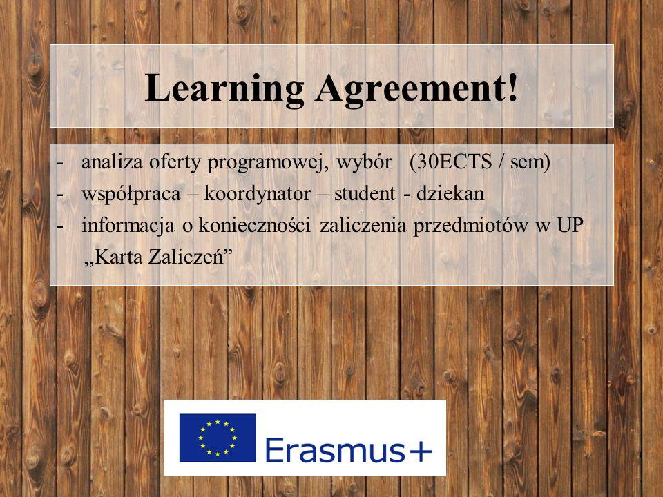 Learning Agreement! -analiza oferty programowej, wybór (30ECTS / sem) -współpraca – koordynator – student - dziekan -informacja o konieczności zalicze